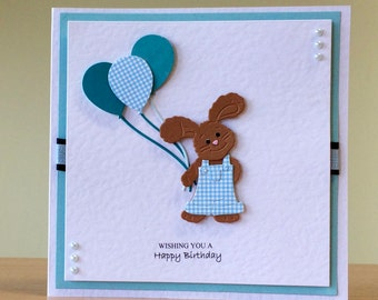 Birthday Card, Handmade - Cute Rabbit Birthday Card For Children/ Men/ Women/ Girls/ Boys/ Friend - Rabbit Birthday Card - Cute Bunny Card