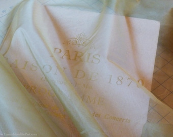 """Silk Organza Fabric - light solid olive-sage green fabric - Very sheer fabric by the yard - 100% silk - 53"""" Wide - EP Silk #69"""