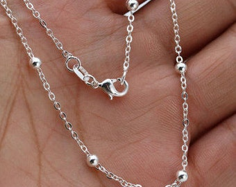 "Sterling Silver BALL/ O Necklace Chain - 1.2mm & 3mm Thick - Pick Size 16"" through 30"" - Finished Necklace - Lobster Clasp - 925 Stamped"