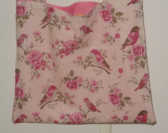 "Tote bag ""birds pink"" with zipper"