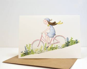 Spring Cycling - Watercolour Illustration Greetings Card