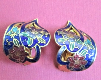 Lapis Blue Cloisonne Earrings Unusual Clip On Earrings Lilac Red Floral Earrings Artful Earrings Royal Blue Enamel and Gold Leaf Jewelry