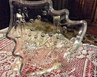 Vintage Glass Christmas Tree Dish