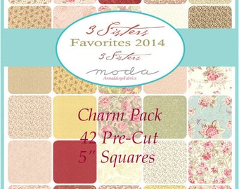 "Moda Charm Pack, 3 Sisters Favorites, Moda 906PP, Cottage Chic Fabric Bundle, Shabby Floral, 42 Pre Cut 5"" Squares, Cotton Fabric Squares"