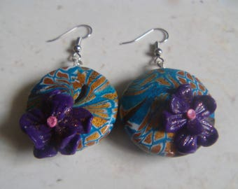 Swirl earrings and Fimo flower