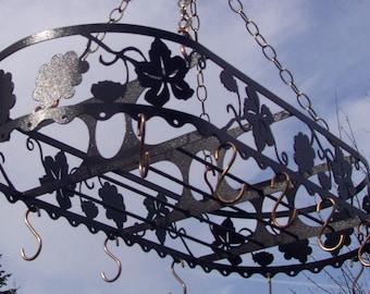 Iron Pot Rack French Vineyard California Grape Leaf Design Copper Hooks