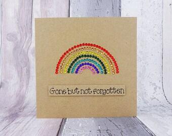 Thinking of you card, Rainbow bridge pet sympathy card, Handmade rainbow card with gems, Rainbow gems card, Sorry for your loss rainbow card