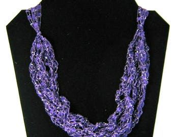 Trellis Necklace Ladder Necklace Adjustable Crochet Necklace Purple Sparkle