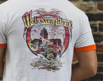 Vintage Halloween Shirt - Men's Medium Orange and White Halloween in Athens Tee - Vintage T-shirt - Made in USA