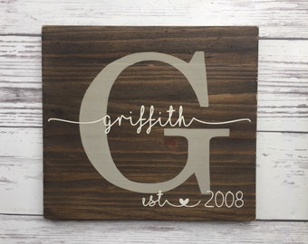 Last Name Sign wood, Established Sign, Monogram Sign, Family Name Sign, Custom Wedding Gift, Anniversary Gift Wedding Sign, Custom Name Sign