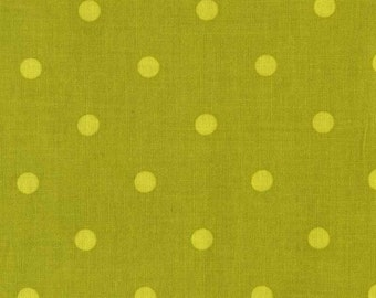 Quilting cotton fabric by the yard, green polka dots by fabric designer Paula Prass for Michael Miller. Need more fabric yardage? Just ask.