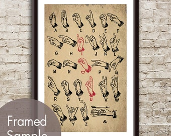 I LOVE YOU Alphabet (sign language) Art Poster (Featured on Cork Board Style with Black)  (Buy 3 and get 1 Free)