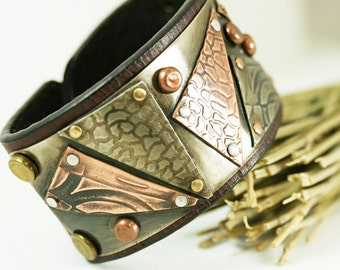 Mixed Metal Leather Cuff Bracelet