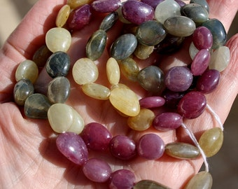 """Very Nice Multi Color Plum Sage Gem Umba Sapphire Large Smooth Free Form Nugget Beads 5"""" demi strand 85ct weight"""
