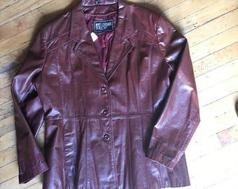 Vintage Burgundy Leather Coat Jacket Women's Size Large
