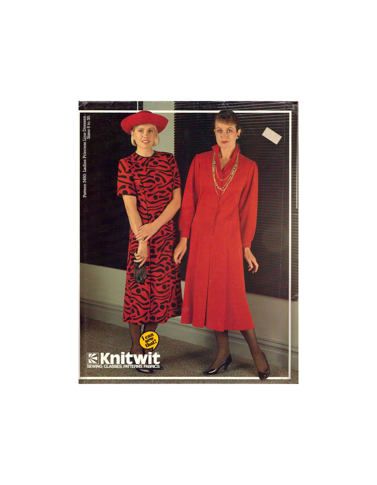 80s Knitwit 3450 Princess Line Dress with Front Opening, Collar ...