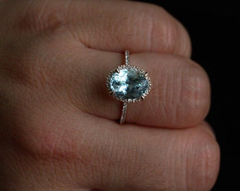 Natural Aquamarine Engagement Ring in 14k Rose Gold with Aquamarine Oval 10x8mm and Diamond Halo Ring