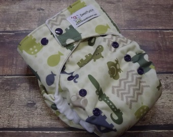 One Size Pocket Cloth Diaper Hippo Safari 15-40 lbs PUL