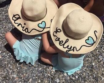 Childrens personalised straw hat