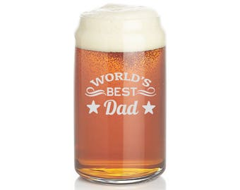 Dad, Beer glass, etched beer glass, pint glass,  beer glasses, best dad Beer glass, custom, 16oz - , Etched Glassware Pilsner
