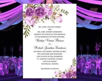 "Printable Wedding Invitation Template ""Romantic Blossoms"" Purple, Lavender & Lilac Word Doc. Make Your Own Wedding Invitations DIY U Print"