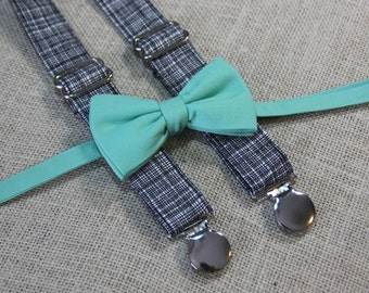 Dark Mint Green Bow Tie and Black Crosshatch Suspenders set ( Men, boys, baby, toddler, infant Suspender and Bowtie ) outfit