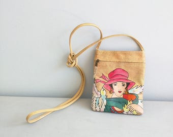 Cross Body Bag Vintage Hand Painted Leather Purse Emily Ann of Boca Raton, Small Cross Body Bag, pink hat and green shall, Vintage Emily Ann