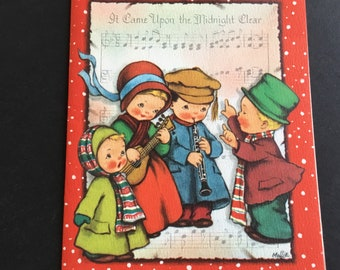 Vintage Christmas greeting card, midnight clear singing  carolers, Crestwick
