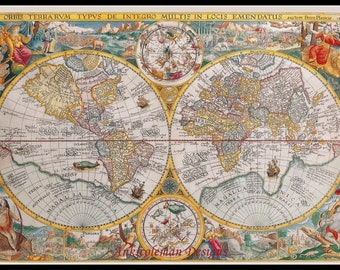 Counted Cross Stitch Patterns Needlework for embroidery - Ancient World Map, 1594