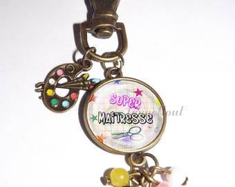 porte clef,cabochon en verre,1.8cm , peinture, cadeau maitresse, super maitresse, ecole
