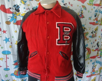 Vintage 70's B High School Varsity Letterman punk rock red and black letter Jacket Sz M