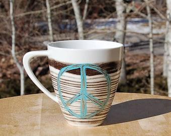 Turquoise Peace Sign Mug Bambeco Sustainable Porcelain
