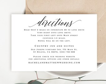 Directions card etsy directions template editable pdf directions insert directions cards for wedding invitation enclosure cards wedding template printable vm51 stopboris Gallery