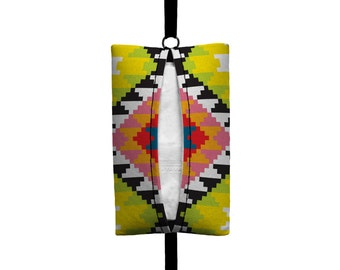 Auto Sneeze - Aztec - Visor Tissue Case/Cozy - Car Accessory Automobile - Citrus Green Yellow Pink Black White Tribal Indian