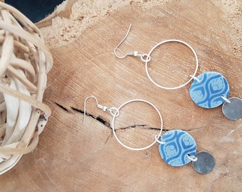 TRIO of grey and blue polymer clay earrings