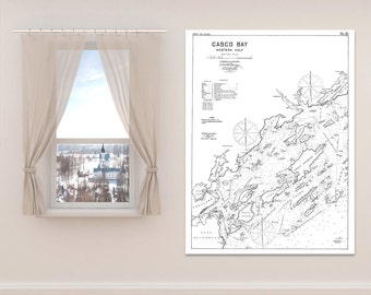 Antique Print of Casco Bay (Western Half) in Maine on your choice of Photo Paper, Matte Paper or Canvas Giclee