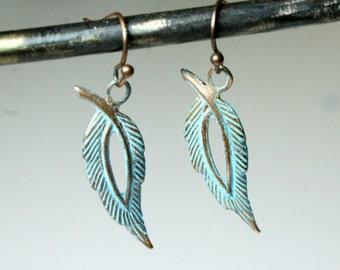Feather Earrings Boho Earrings Patina Earrings Patina Copper Jewelry Feather Jewelry Rustic Earrings