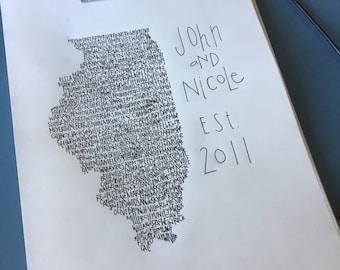 Custom Typography Print. Custom Handwritten print. Custom Art. Custom State Art. Custom Artwork.Custom Wall Art. Custom Unique Wedding Gift