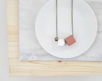 Aria Necklace | Geometric trio |  Vibrant Rose & White