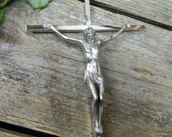 Vintage Silver Crucifix - Jesus on the Cross