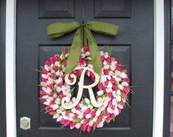 SPRING WREATH SALE Pink Tulip Spring Wreath Summer Wreath- Mother's Day Gift- Spring Decor- Monogram Wreath- Pink Shabby Chic, The Original