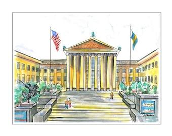 The Philadelphia Museum of Art.  Matted digital print of original watercolor/ink painting.