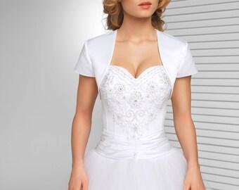 Simple short sleeved Satin Bridal Jacket | Simple Bolero in White, Ivory and Black