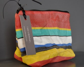 Up Cycled, Ethical Vegan Friendly Red, White, Yellow Turquoise Stripy Vintage Deckchair Canvas Cosmetic Pouch | Makeup Bag Travel Kit