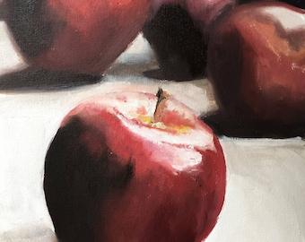 Apple Painting Apple Still Life Art PRINT - Apple Oil Painting Apple Fruit Art