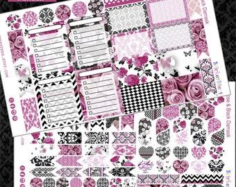 Rose & Black Damask Elegance Planner Layout Cute Planner Stickers