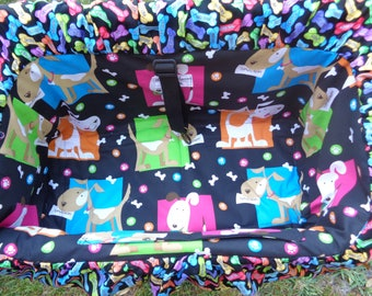 "Pet Shopping Cart Cover ""Bright Squares of Doggies"" Ready to Ship"