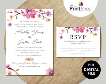 Digital File - Ashley's Wedding Invitation & RSVP Template
