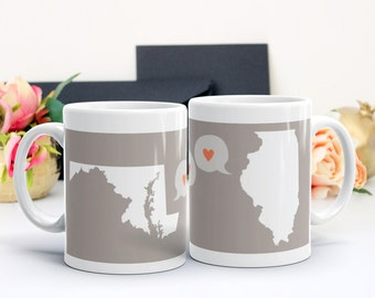 Gift for Long Distance Family, Gift for Grandparent, Best Friend Gift, Miss You Moving Gift - Personalized State Map Mug