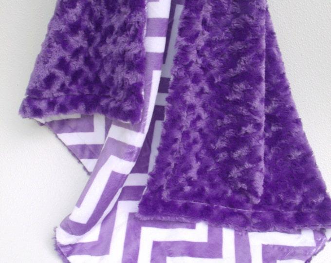 Purple Chevron Minky Baby Blanket, Purple Chevron and Purple Rose Swirl Baby Blanket,
